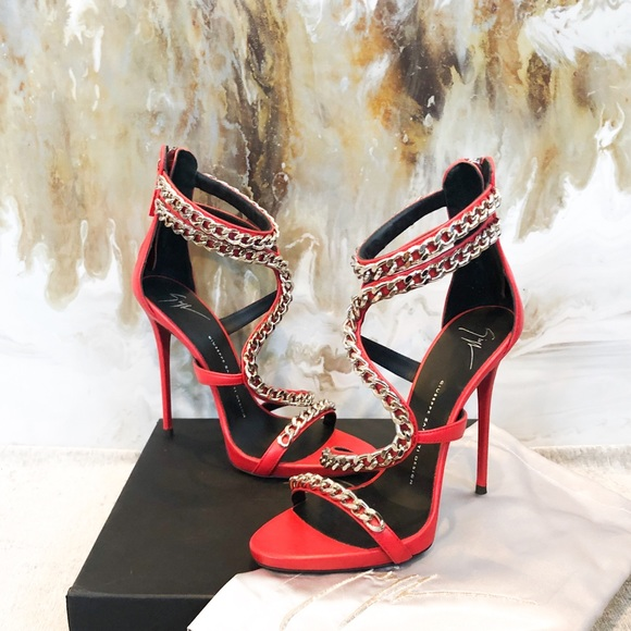 e284dc120ed Giuseppe Zanotti Red Leather Snake Chain Sandal